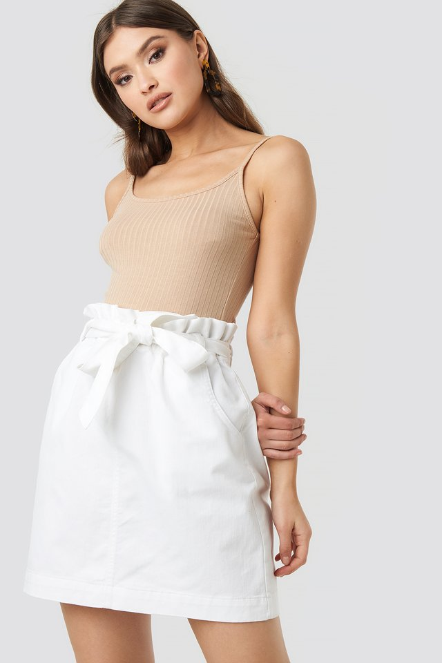 Paper Bag Waist Denim Mini Skirt White
