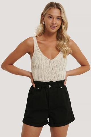 Black Shorts Med Paperbag-Midja