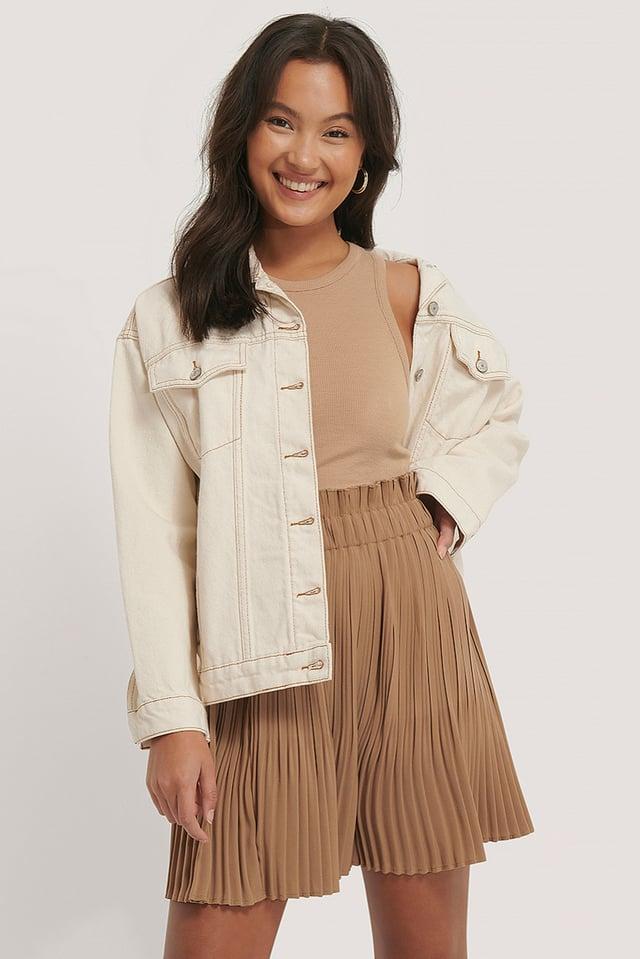 Paper Waist Mini Skirt Beige
