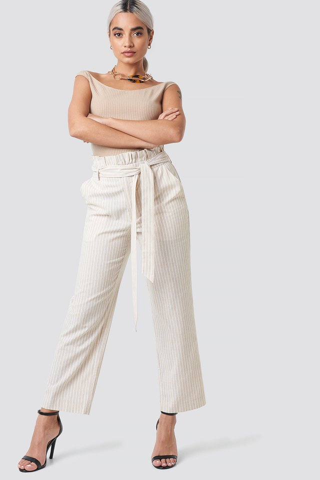 Beige Paper Waist Striped Trousers
