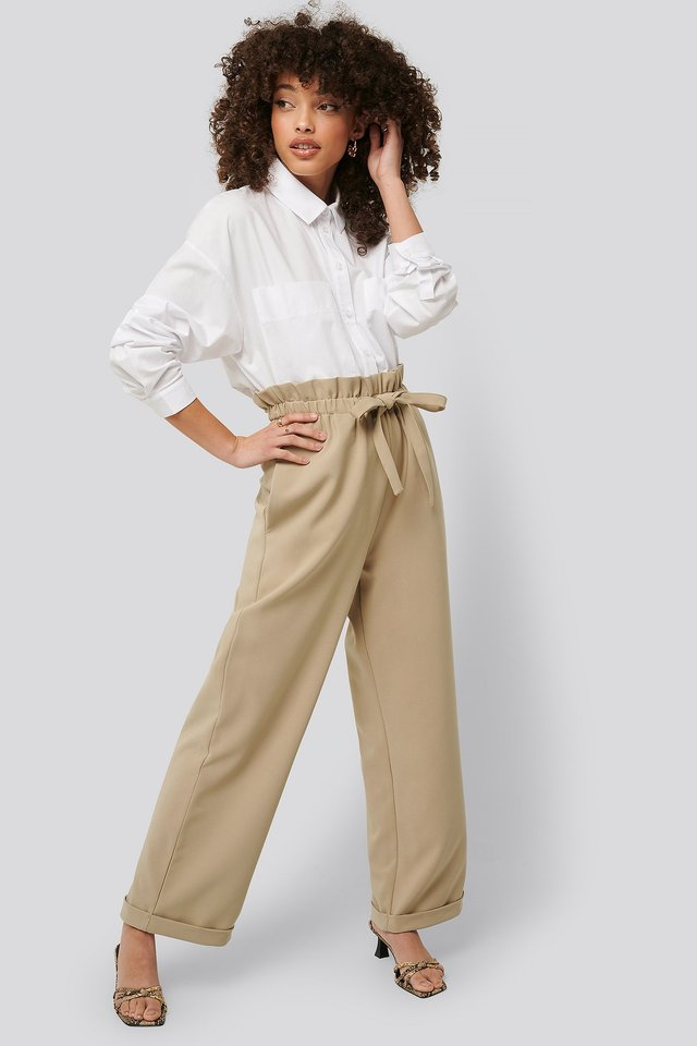 Paperbag Tapered Pants Beige