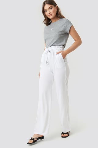 White Paperbag Wide Leg Trousers