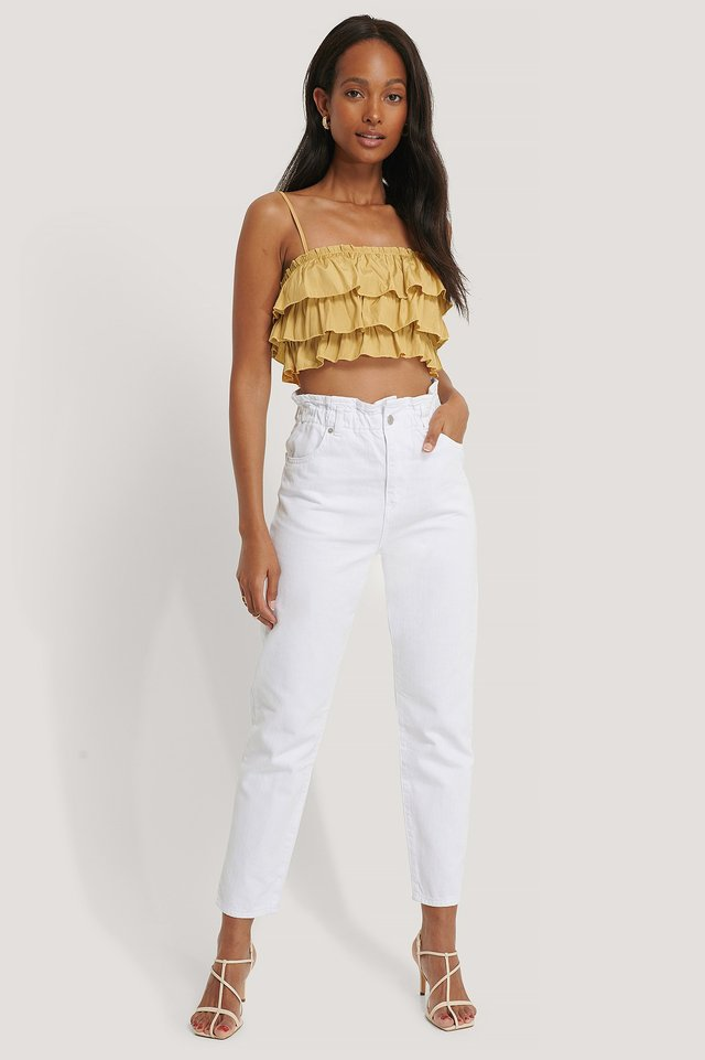 Paperwaist Jeans White