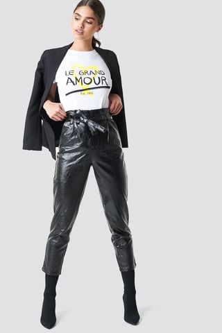 Black Paperwaist Patent Leather Pants