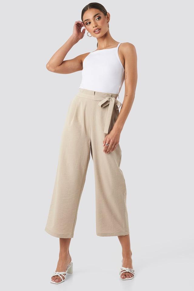 Paperwaist Self-Tie Pant Beige