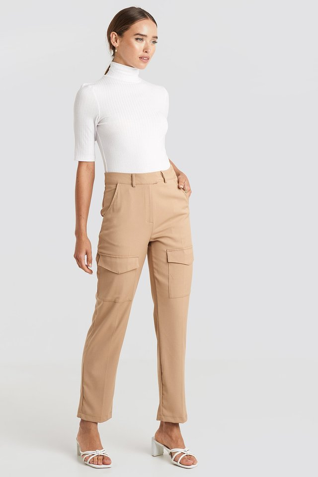 Patch Pocket Straight Pants Beige