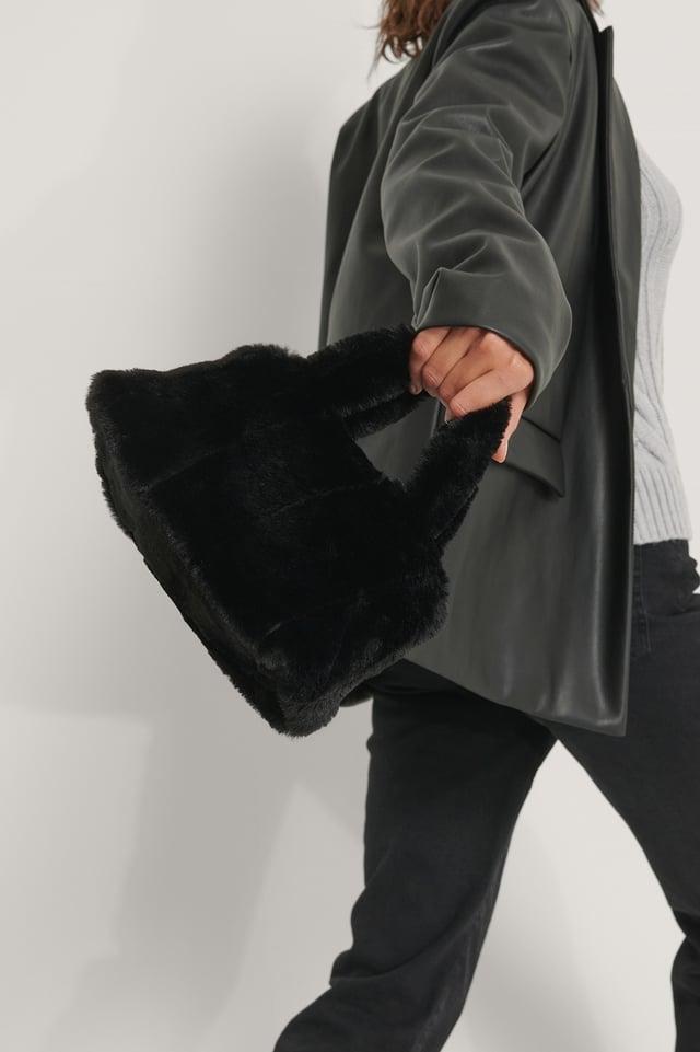 Black Patched Fluff Handbag