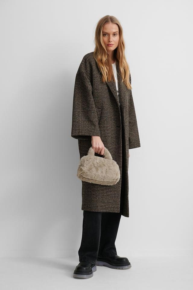 Lt Grey/Beige Patched Fluff Handbag