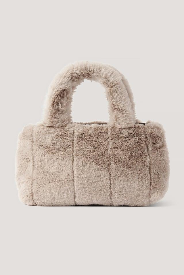 Patched Fluff Handbag Lt Grey/Beige