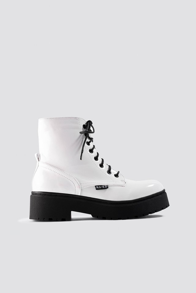 Patent Combat Boots White