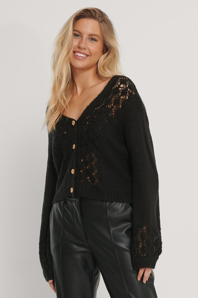 Pattern Knitted Cropped Cardigan Black