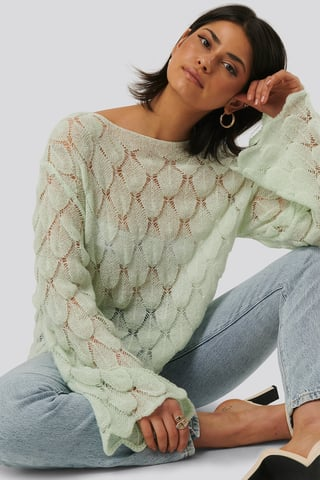 Mint Pattern Knitted Long Sleeve Sweater