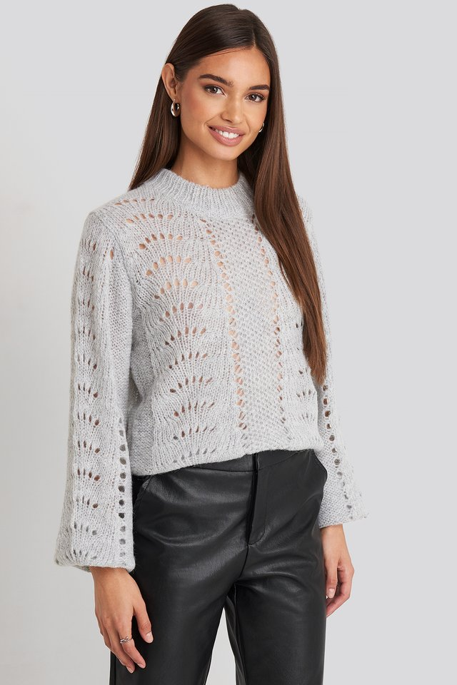 Pattern Knitted Round Neck Sweater NA-KD