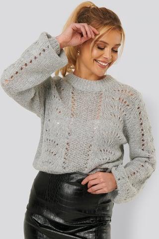 Grey Sweter Z Dzierganym Wzorem, Okrągły Dekolt