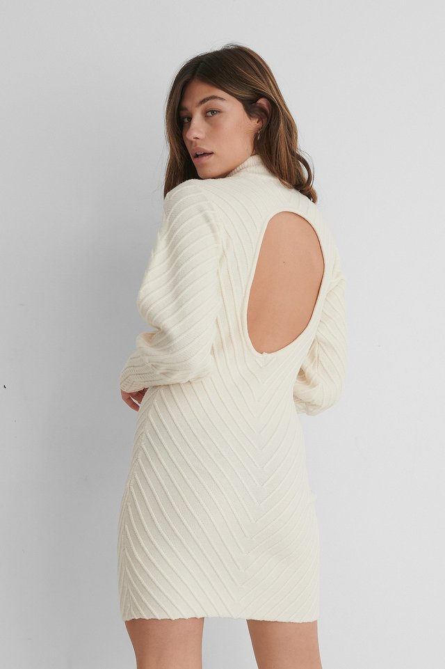 Pattern Knitted Open Back Dress Off White