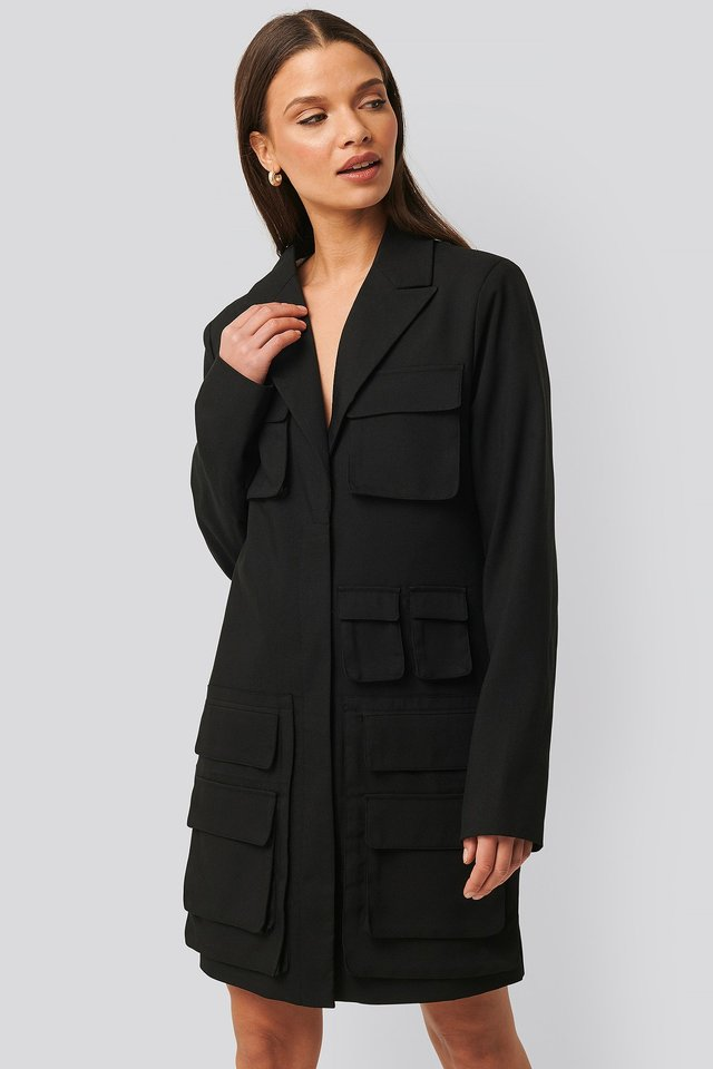 Pocket Blazer Dress Black