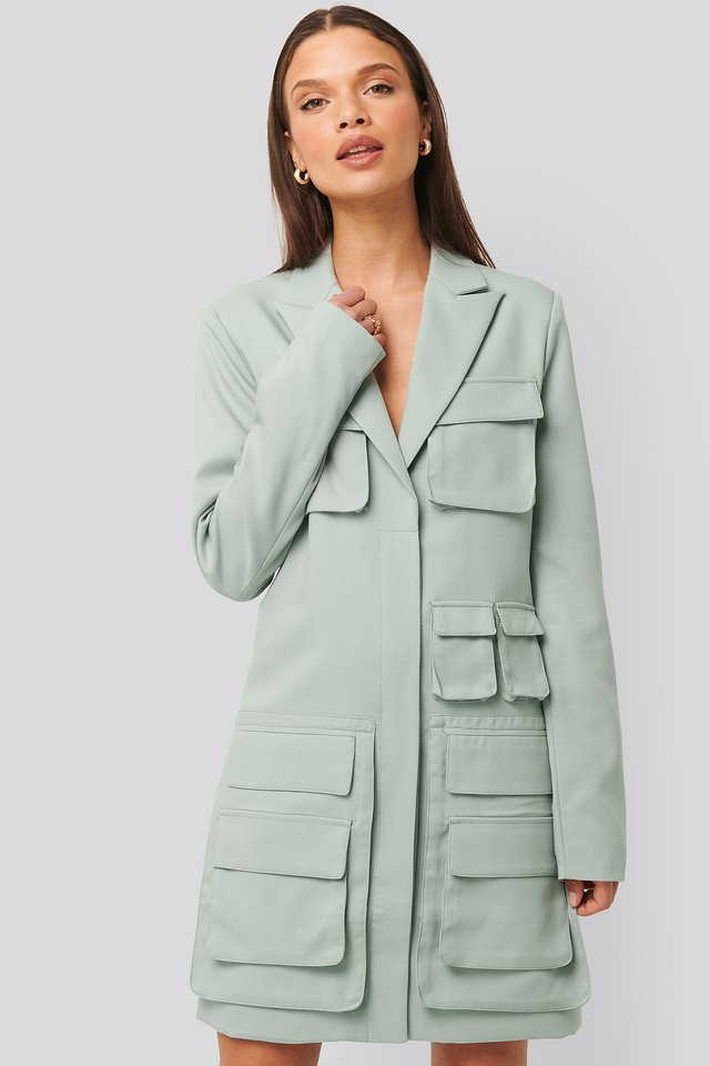 Pocket Blazer Dress Dusty Light blue