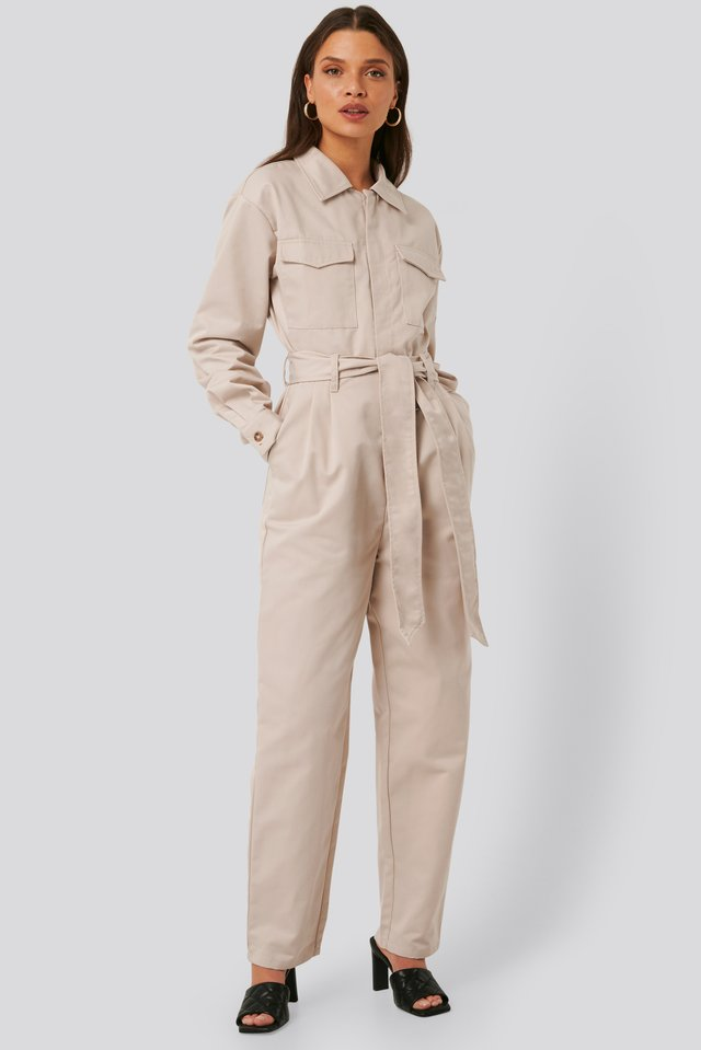Pocket Jumpsuit Beige