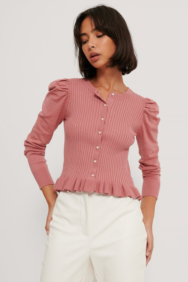 Dusty Pink Pearl Detail Flounce Cardigan