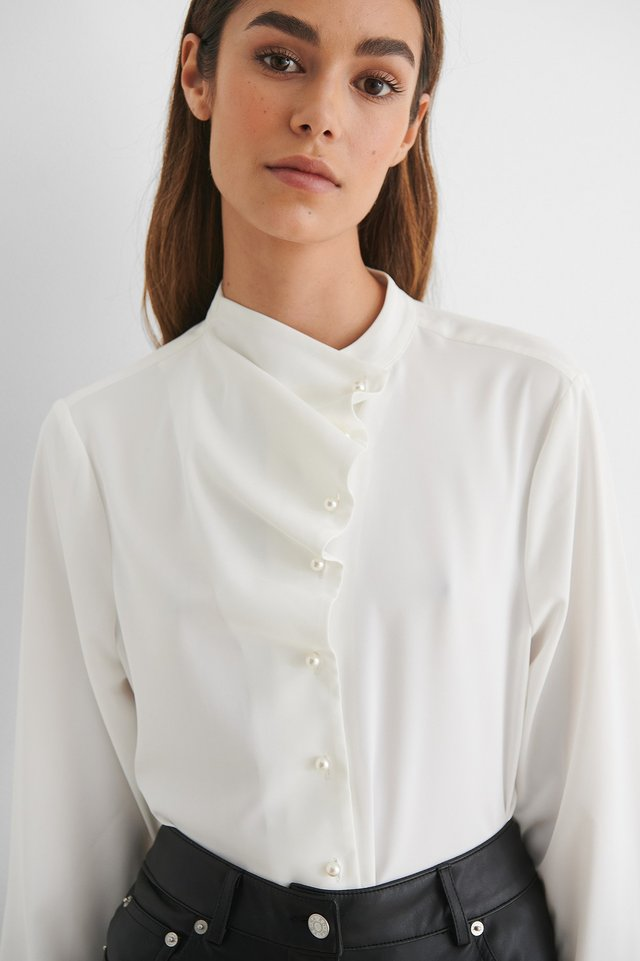 White Pearl Button Blouse