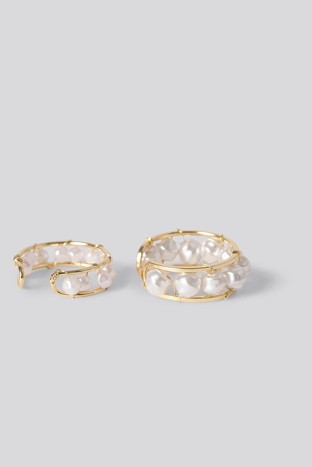 Pearl Detail Rings Gold