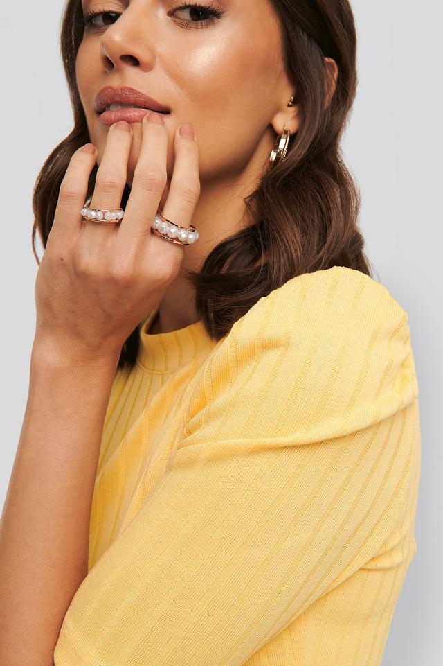 Pearl Detail Rings Gold