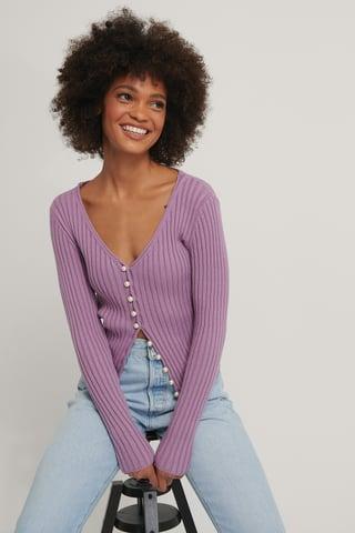 Purple Stickad Cardigan Med Pärldetaljer