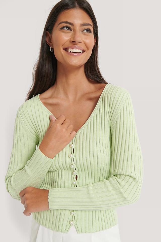 Dusty Green Gebreid Vest Met Pareldetails