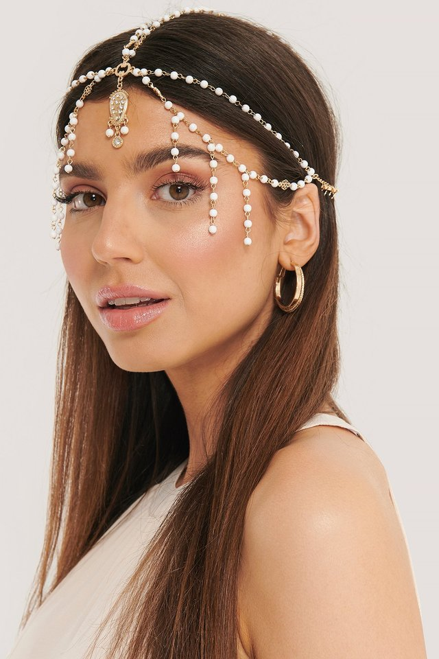 Pearl Detailed Ornament Headpiece Gold