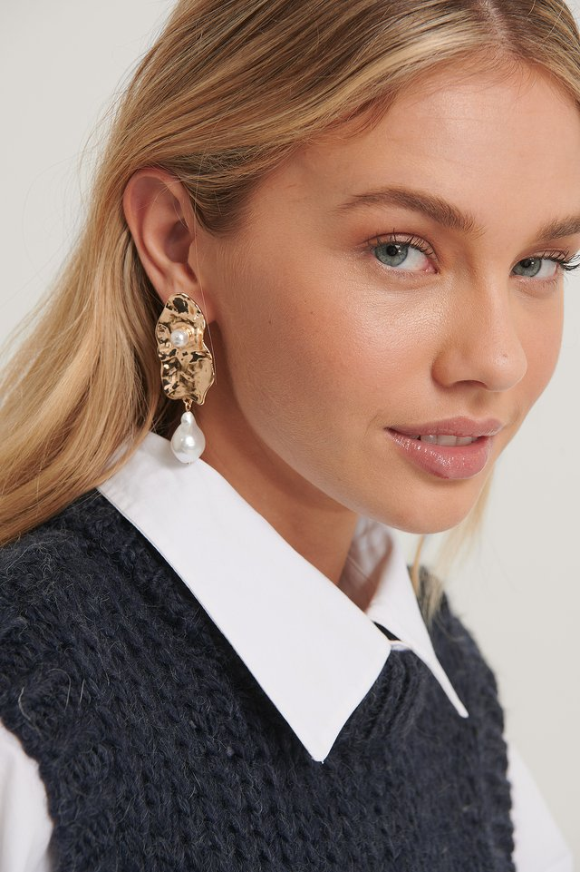 Gold Pearl Detailed Structured Earrings