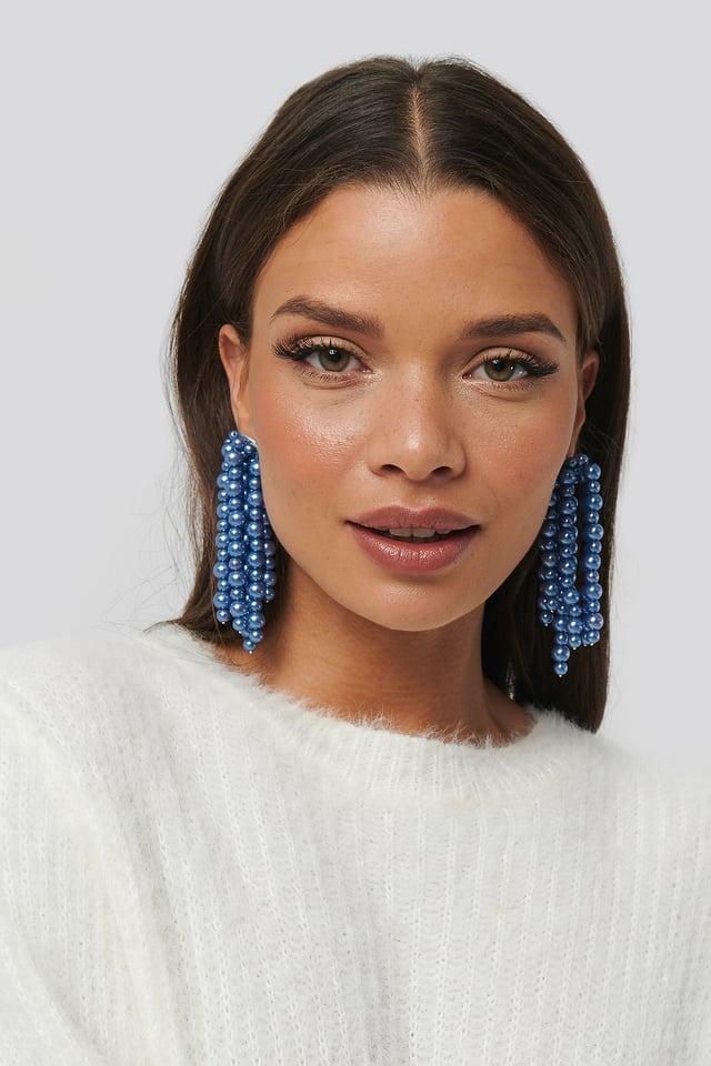 Blue Pearl Dropping Earrings