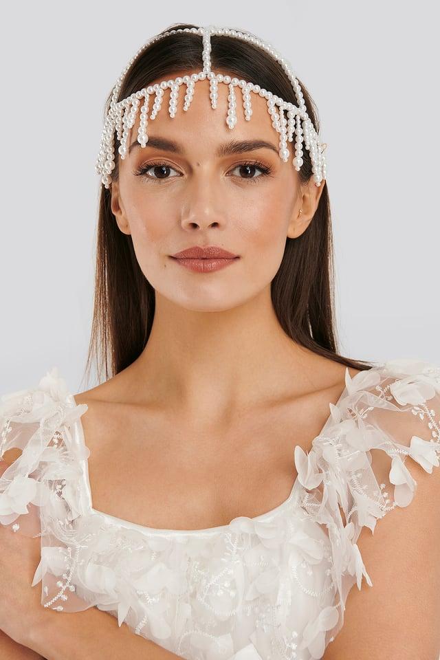 Pearl Hair Detail Net White