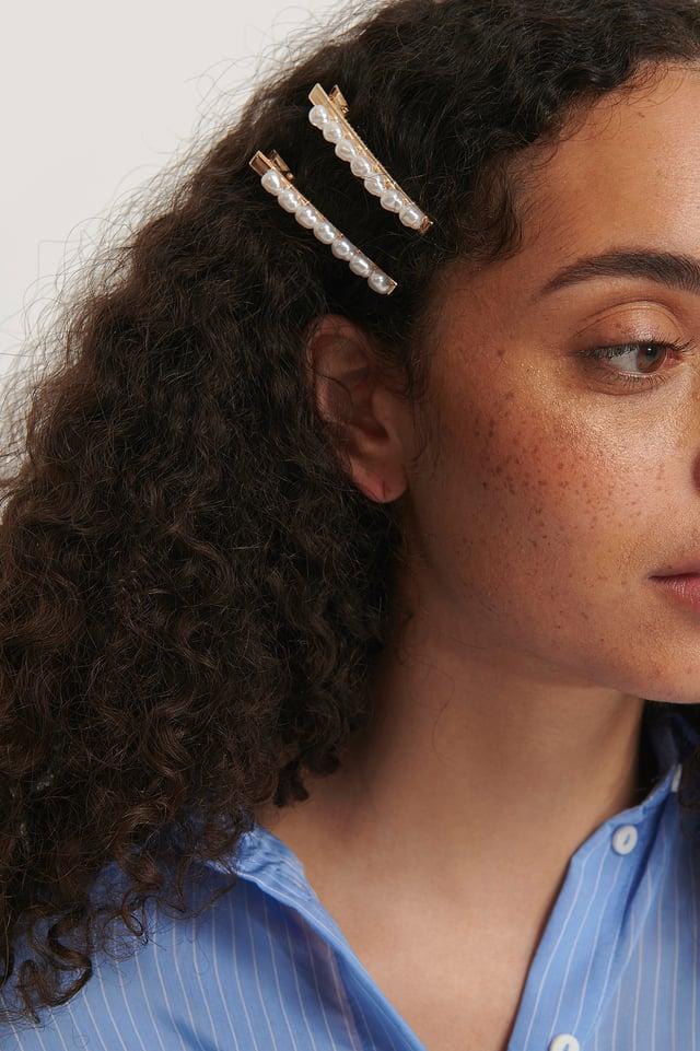 Pearl Row Hairclips Gold