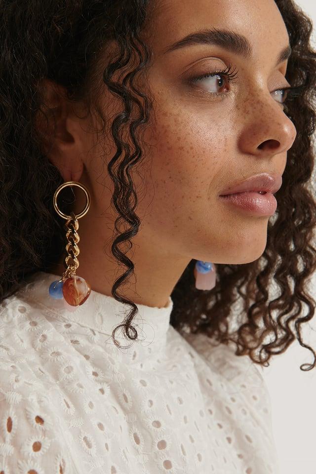 Gold Pendant Drop Chain Earrings