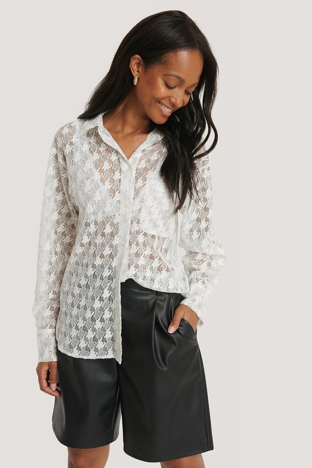 Pepita Lace Pocket Blouse White