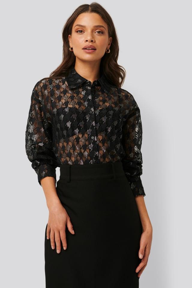 Pepita Lace Pocket Blouse Black