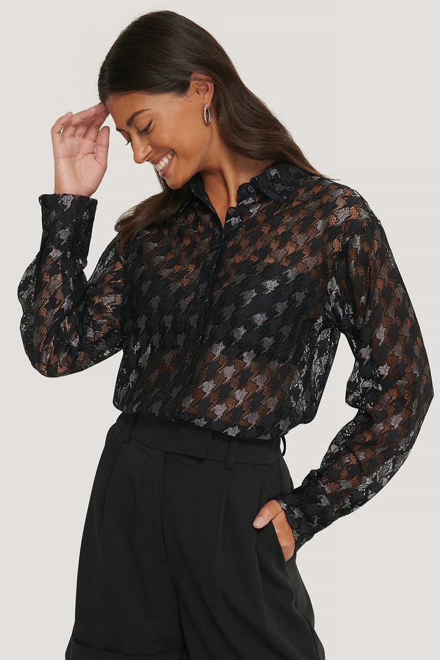 Pepita Lace Pocket Blouse Black