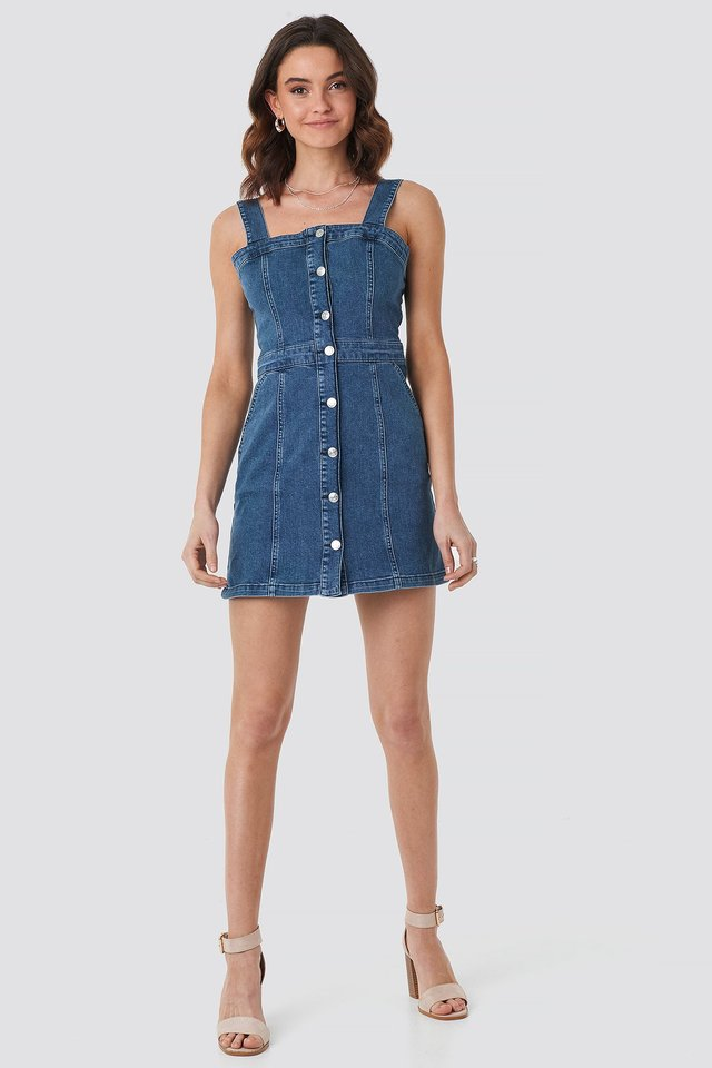 Pinafore Mini Denim Dress Mid Blue Wash