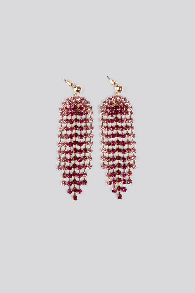 Pink Rhinestone Drop Earrings Pink
