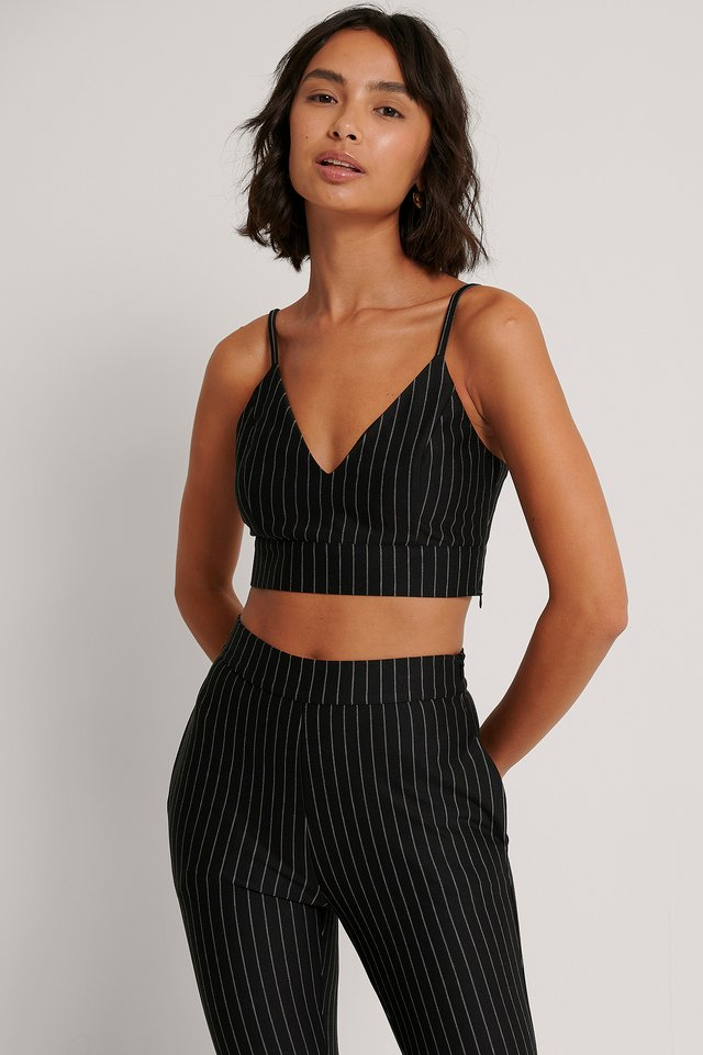 Pinstripe Crop Top Black