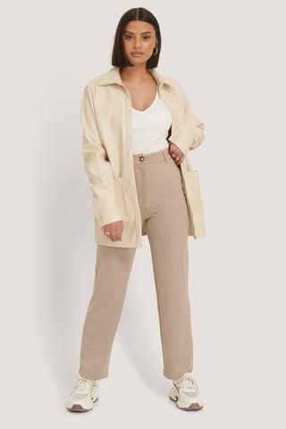Beige Pinstripe Straight Pants