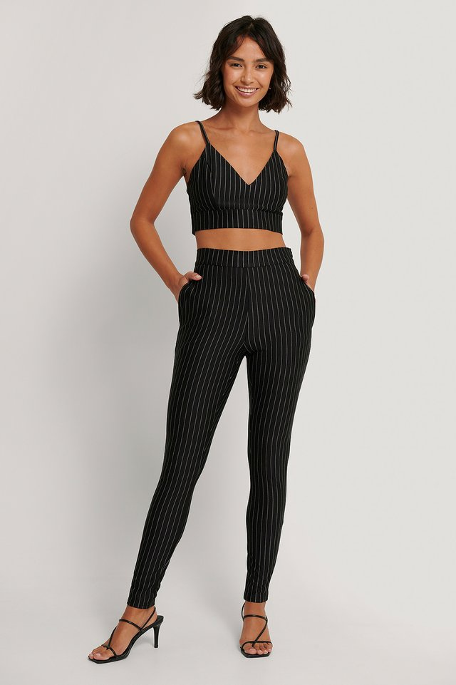 Pinstripe Zip Pants Black