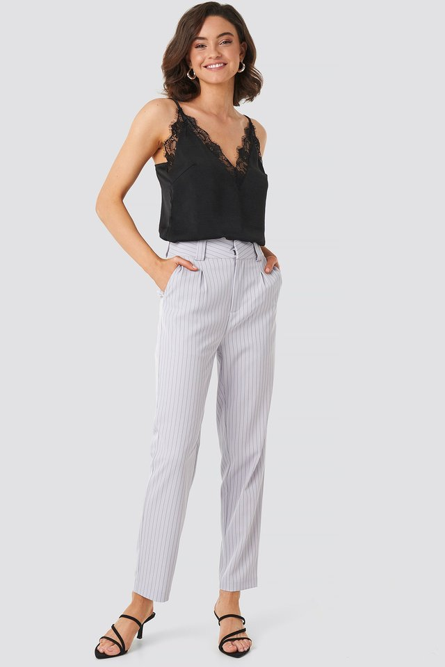 Pinstriped Cigarette Pants Light Blue