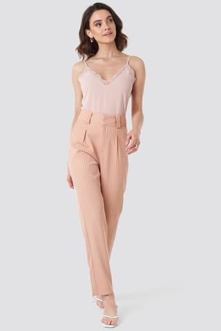 Dusty Pink Pinstriped Cigarette Pants