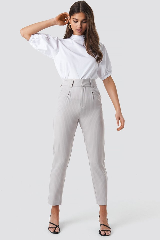 Pinstriped Cigarette Pants Light Grey