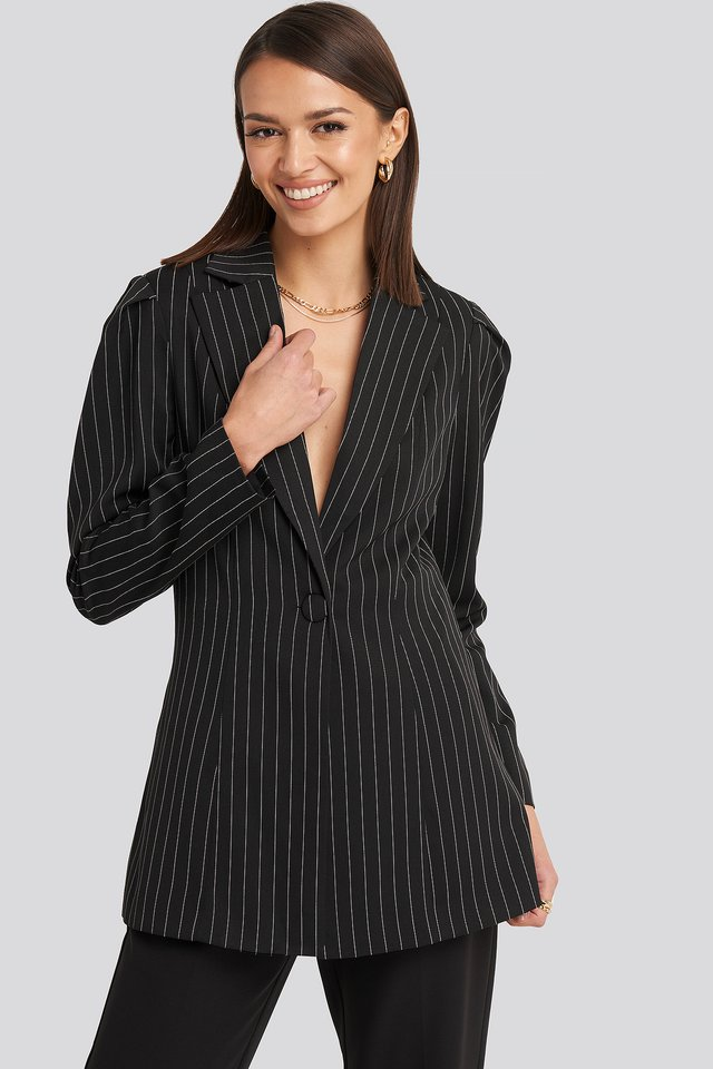 Pinstriped Puff Shoulder Blazer NA-KD Classic