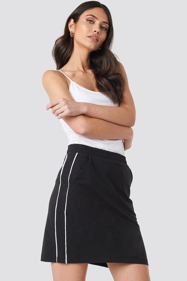Piping Detail Mini Skirt Black/White