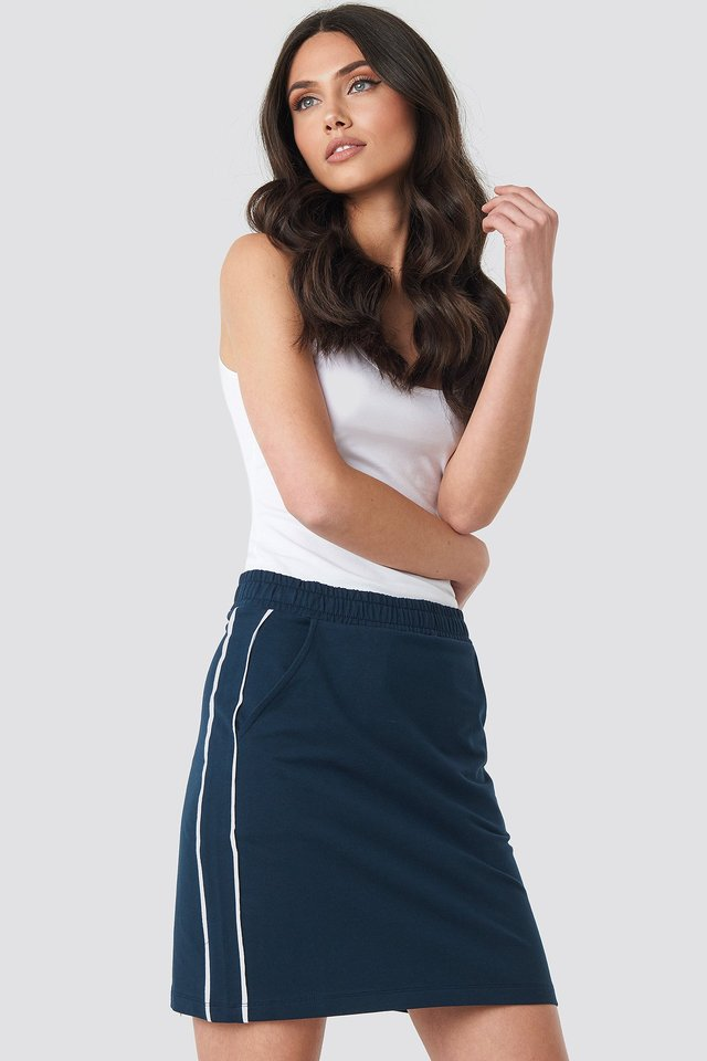 Navy/White Piping Detail Mini Skirt