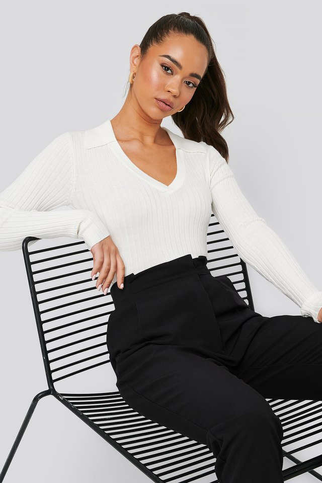 Pique Collar Ribbed Knitted Sweater White
