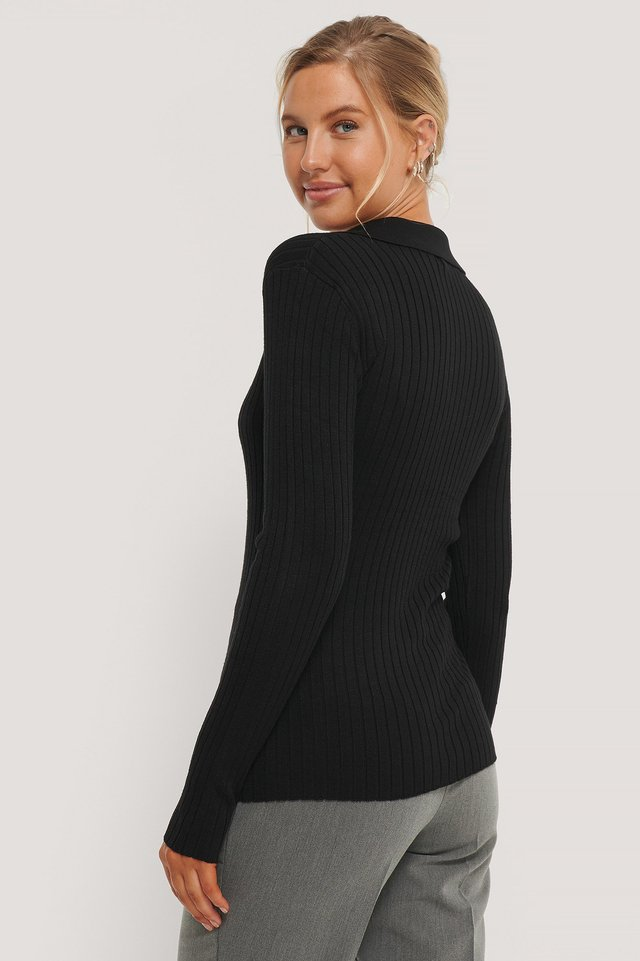 Black Pique Collar Ribbed Knitted Sweater